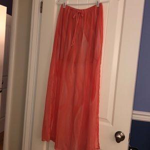H.I.P. Brand new size S, orange sheer maxi skirt.